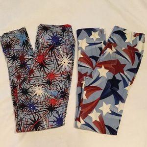 2 Lularoe leggings Americana red white blue (3K17)